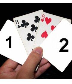 Carica due foto ad un gioco di quattro carte pker con questo effetto in linea