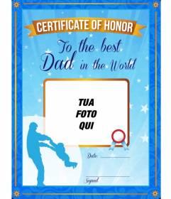 Certificato d'onore per il miglior padre del mondo. Un certificato blu personalizzata con una foto e testo