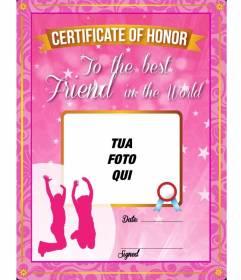 Certificato rosa con stelle e scintille per dare al vostro migliore amico e mettere una foto su di esso e il testo on-line