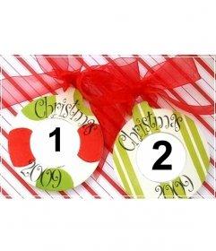 Cartolina di Natale da fare online con 2 palle e ornamenti