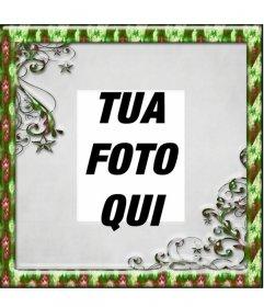 Photo frame di Natale con bordo verde dove si può mettere una foto