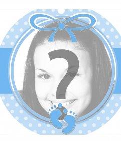Circolare blu cornice perfetta per aggiungere una foto di un bambino