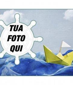 Collage marinaio con una barchetta di carta su uno sfondo di vernice e una cornice a forma di timone