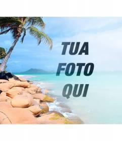 Collage con una spiaggia paradisiaca con acqua blu e le palme di mettere la tua foto e personalizzare con il testo