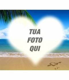 Collage di mettere una foto a forma di cuore su una foto di una spiaggia