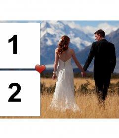 Collage di fidanzati innamorati che vagano attraverso i prati e le montagne