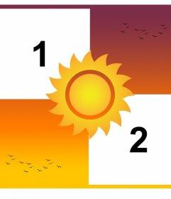 Collage di modificare con due foto e aggiungere il sole in un tramonto