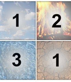 I 4 elementi come filtri per caricare quattro foto