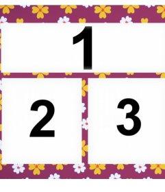 Mosaico per tre foto con uno sfondo fiorito