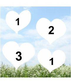 Creare un collage di amore con il cuore con le foto di vostra scelta su uno sfondo con una foto di un paesaggio con un cielo azzurro e un campo di fiori