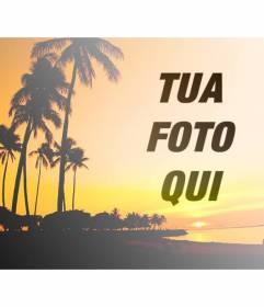Creare un collage con un paesaggio estivo con una spiaggia e palme con toni di colore arancione e una foto di voi online e gratis