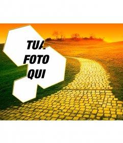 Collage di foto con una strada al tramonto