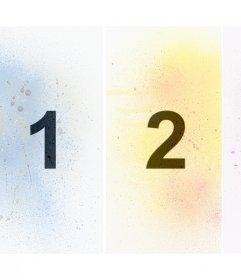 Collage originale per tre foto con filtro di vernice spray