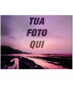 Foto collage di mettere una foto sulla trasparenza su un bel tramonto in toni viola