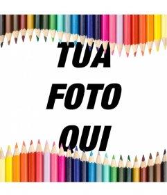Photo frame fatta con le matite colorate, ideali per i bambini