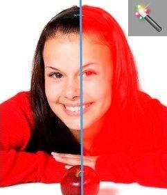 Con questo questo effetto foto, è possibile colorare in figura rossa, per esempio, si può cambiare lo schema dei colori su una scala di rosso, online e gratuitamente