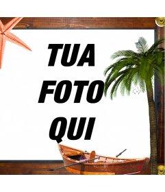 Cornice di mare con le stelle marine, una barca e una palma incorniciato in legno