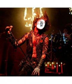 Fotomontaggio di un concerto heavy metal per essere il cantante