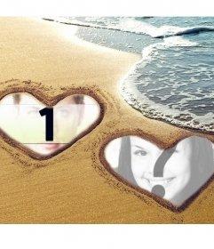 Collage di amore con due cuori contrassegnati sulla sabbia in spiaggia