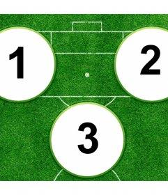 Collage per creare la tua squadra ideale stelle del calcio con tre colpi. Fino a tre campi foto