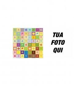 Carta di Buon Compleanno al testo come un puzzle. a colori