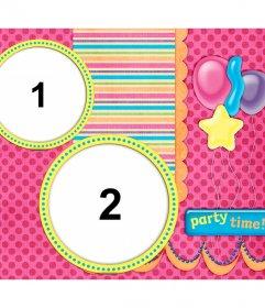 Collage di compleanno per la personalizzazione con due foto
