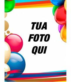 Photo frame con palloncini colorati