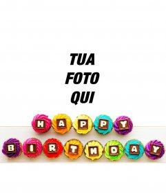 Messaggio di buon compleanno in cupcakes colorato