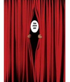 Fotomontaggio di mettere la tua faccia e sbirciare tra una tenda rossa