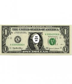 Fotomontaggio originale dove si può mettere la tua faccia sulla banconota da un dollaro