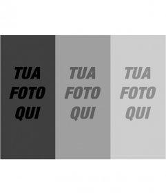Montaggio di filtri fotografici. caricare una foto e con questo modello si ottiene un composto di tre fotografie in scala di grigio sfumato