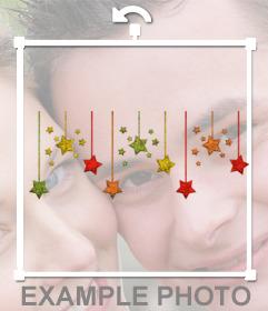 Sticker di ghirlanda di Natale con stelle di colori