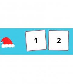Coprire foto di Natale ai social network per aggiungere due foto