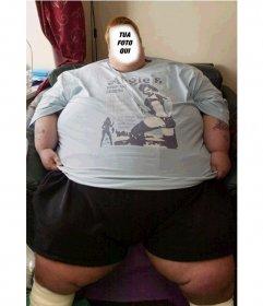 Montaggio di aggiungere una foto a tua scelta di fronte a questo uomo grasso