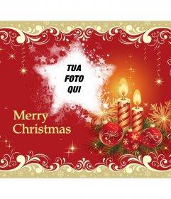 Auguri di Merry Christmas e di foto con forma a stella. Scheda