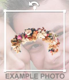 Mettere i famosi Fiori e rose diadema nelle foto per decorare