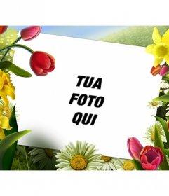 Photo frame con disegni di fiori e piante primaverili