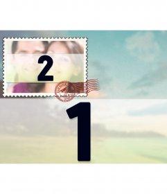 Collage di due immagini con uno sfondo di foto e un piccolo come un francobollo, sovrapposto