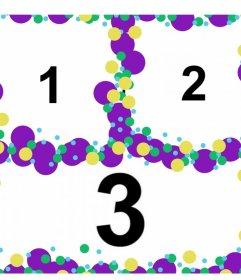 Collage con cerchi colorati per personalizzare con tre foto