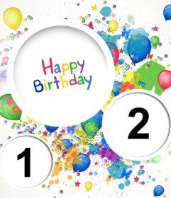 Colorato collage per festeggiare un compleanno di caricare carta di compleanno due foto