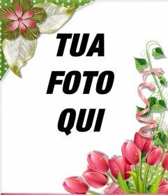 Cornice decorativa con belle rose e fiori per le tue foto