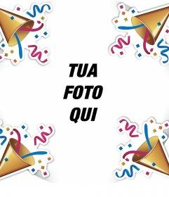 Telaio modificabile per festeggiare con coriandoli e la tua foto