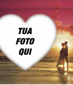 Effetto romantico di caricare la tua foto con una coppia in un tramonto