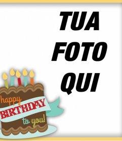 Felicita con questo telaio con le parole Happy Birthday to You