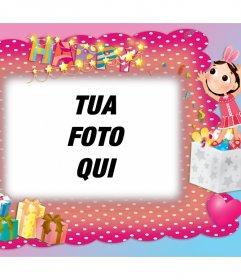 Photo frame con decorazioni di festa di compleanno da modificare per Edit