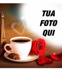 Effetto Foto damore con la Torre Eiffel di Parigi e un caffè