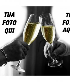 Foto collage di una coppia fare un brindisi per caricare 2 foto