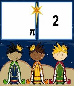 Cartolina di Natale per celebrare il giorno dei Re Magi con due foto