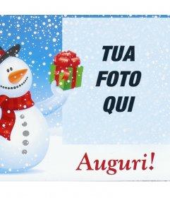 Effetto Foto di Natale con il pupazzo di neve per la vostra foto