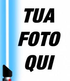 Foto effetto della spada laser blu da Star Wars alla foto